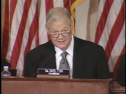 representative ike skelton talks about political progress in the iraq war during a joint hearing of congress. - (war or terrorism or election or government or illness or news event or speech or politics or politician or conflict or military or extreme weather or business or economy) and not usa stock videos & royalty-free footage