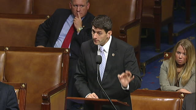 stockvideo's en b-roll-footage met representative paul ryan of wisconsin talks about how the budget control act of 2011 is a bipartisan bill shortly before it is passed through the... - united states and (politics or government)