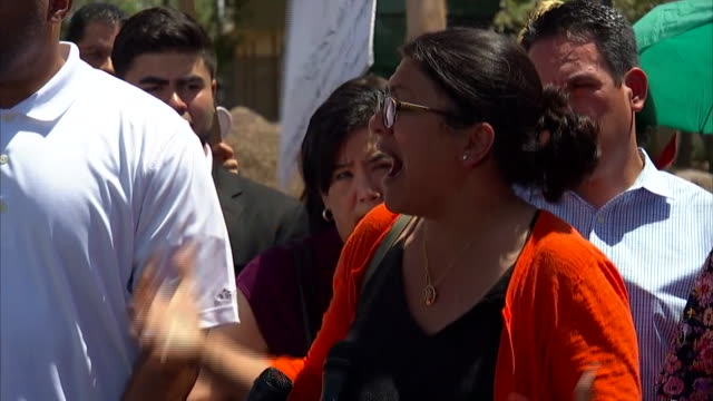 representative rashida tlaib reacts to yells from detractors outside the migrant detention center in clint, texas. - emigration and immigration stock videos & royalty-free footage