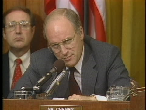 representative richard cheney tells former national security advisor john poindexter that misleading congress in the iran-contra affair is... - president stock videos & royalty-free footage