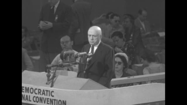 us representative sam rayburn speaker of the house of representatives and the 1952 convention chair standing at podium he asks for vote by... - sam rayburn video stock e b–roll