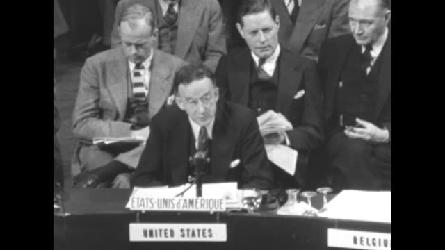 """representative to the un philip jessup reads statement : """"this, then, is the blockade which mr. vyshinsky says is entirely mythical. his contention... - politics and government stock videos & royalty-free footage"""