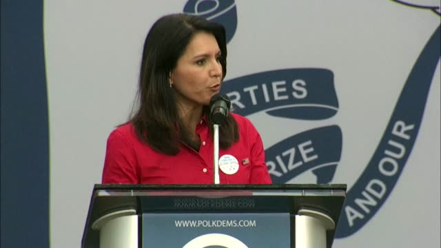 """representative tulsi gabbard says that """"aloha is what unites us"""" during a campaign speech at the 2019 polk county democrats steak fry in des moines,... - united states and (politics or government) stock videos & royalty-free footage"""