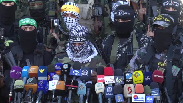 representatives from military groups including izzedine al-qassam brigades, armed wing of palestinian hamas and sereya the al-quds, the armed wing of... - 2017 stock videos & royalty-free footage