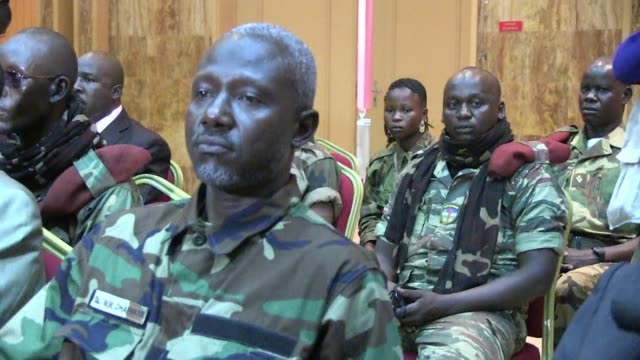 representatives from the central african republic the united nations and the african union began peace talks with seleka rebels in libreville on... - gebot stock-videos und b-roll-filmmaterial