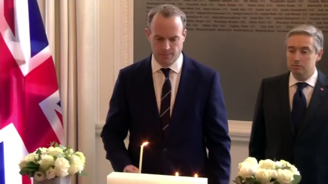 representatives of countries whose citizens died aboard ukrainian aircraft shot down by iran gather for ceremony in london ****flash london canada... - canada house stock videos and b-roll footage