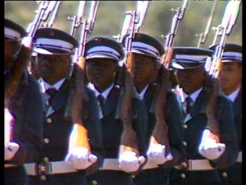 Representatives of Mozambique and South African armed forces gather to mark signing of 'Nkomati Accord' peace agreement between President Samora and...