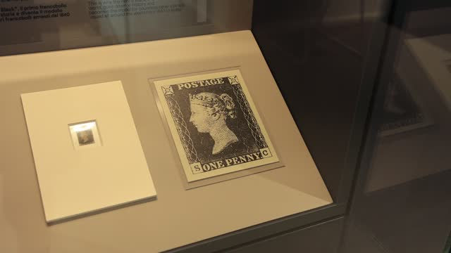 reproduction of the first stamp ever issued in the united kingdom is displayed in a showcase at the stamp museum on august 18 in san marino, republic... - illustration stock videos & royalty-free footage