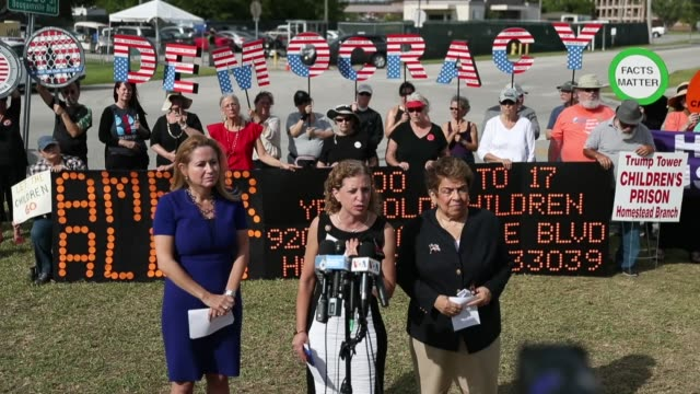 reps debbie mucarselpowell debbie wasserman schultz and donna shalala speak to the media after being denied access to visit the homestead shelter for... - emergency shelter stock videos & royalty-free footage