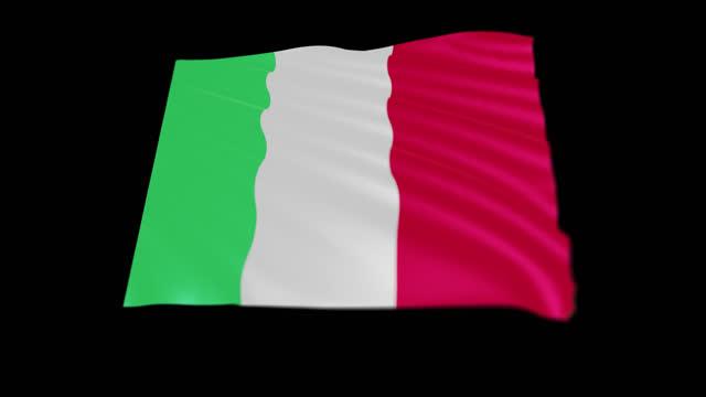 repubblica italiana flag blowing in the wind, 3d animation. seamless loop. - 連続文様点の映像素材/bロール