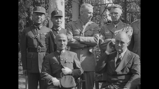 stockvideo's en b-roll-footage met vs republic of china chinese leader general chiang kaishek us president franklin roosevelt prime minister winston churchill and madame chiang kaishek... - chiang kai shek