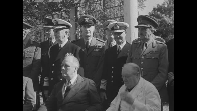 vs republic of china chinese leader general chiang kaishek us president franklin roosevelt prime minister winston churchill with generals behind them... - chiang kai shek stock-videos und b-roll-filmmaterial