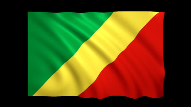 Republic of Congo Flag Loopable alpha included - Stock video