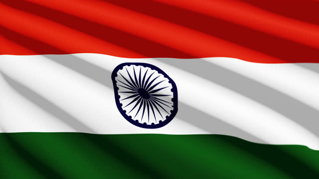 republic of india flag blowing in the wind, 3d animation. seamless loop. - 連続文様点の映像素材/bロール