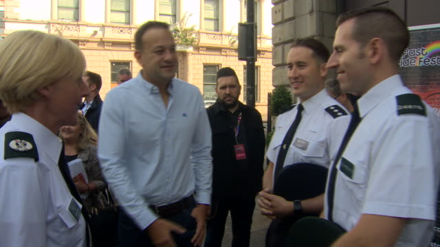 republic of ireland prime minister leo varadkar shaking hands with police officers at a gay pride event in belfast - leo varadkar stock videos and b-roll footage