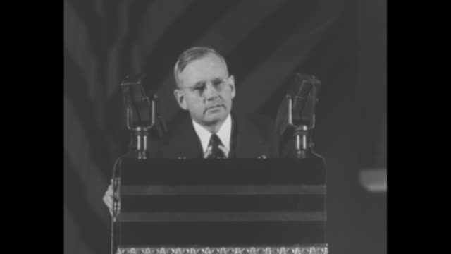 republican candidate for president gov. alf landon standing on rostrum speaking at the republican national convention at cleveland's public... - assertiveness stock videos & royalty-free footage