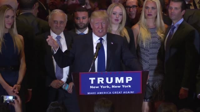 republican frontrunner donald trump celebrated a big victory in his home state of new york on tuesday night at trump tower - us republican party stock videos & royalty-free footage