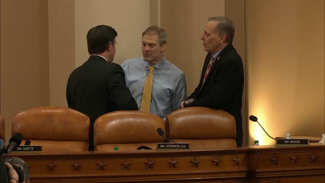 stockvideo's en b-roll-footage met republican members of the house judiciary committee are seen on the dais during a recess from a full committee markup of impeachment articles against... - artikel