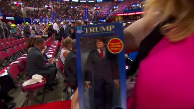 controversy over melania trump speech usa ohio cleveland int republican supporters wearing cowboy hats and holding 'make america safe again' sign... - nodding head to music stock videos and b-roll footage