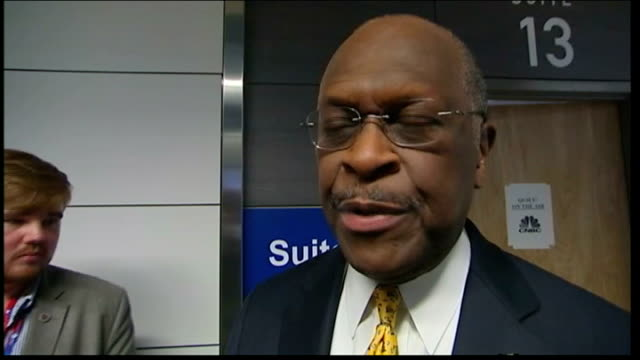 republican national convention in florida to open despite hurricane isaac int herman cain setup shot along with reporter / interview sot high angle... - media interview stock videos and b-roll footage
