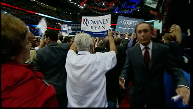 Mitt Romney speech / Clint Eastwood speech PAN from convention to reporter to camera