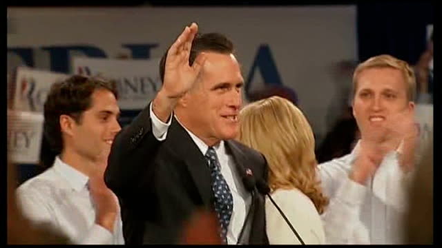 vídeos de stock, filmes e b-roll de republican party presidential nominations mitt romney wins new hampshire vote romney supporters celebrating romney kissing wife on stage romney... - nomeação