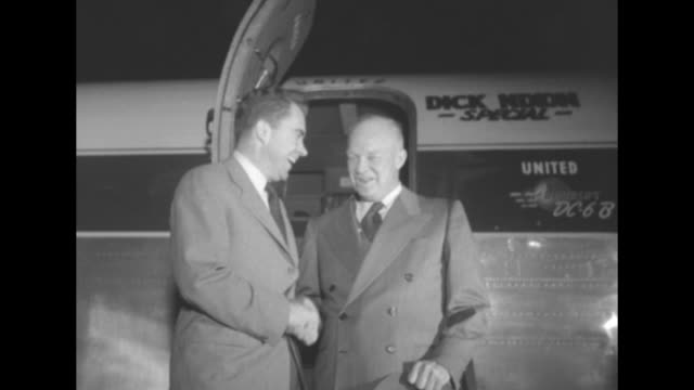 vídeos de stock, filmes e b-roll de republican party vice-presidential candidate richard nixon and presidential candidate dwight eisenhower cheerfully chat and shake hands at an open... - richard nixon