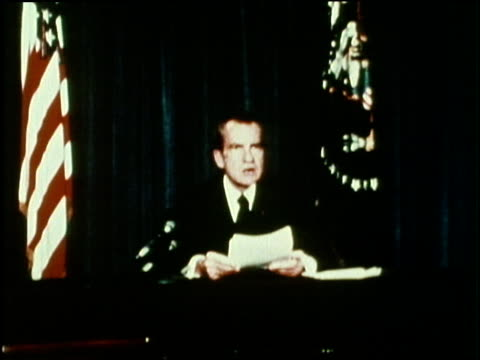 us republican president richard m nixon announces that he will resign at noon on august 8 1974 and vice president gerald ford will be officially... - richard nixon stock-videos und b-roll-filmmaterial