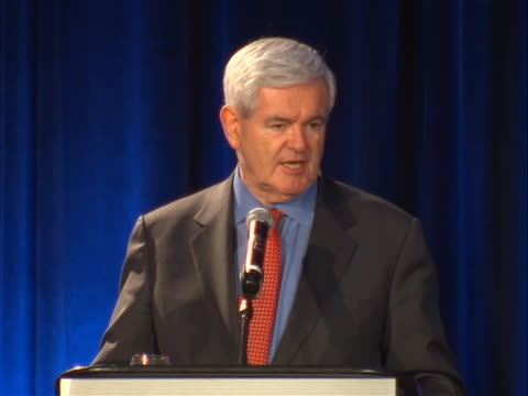 vídeos de stock, filmes e b-roll de republican presidential candidate and former us house speaker newt gingrich speech at georgia gop convention sot we stand at crossroads if we lose... - (war or terrorism or election or government or illness or news event or speech or politics or politician or conflict or military or extreme weather or business or economy) and not usa