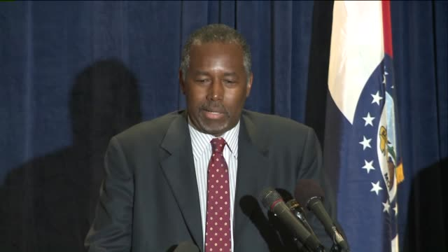 KTVI Republican Presidential Candidate Ben Carson says the US needed to deemphasize race while speaking in Ferguson Missouri on September 11 2015