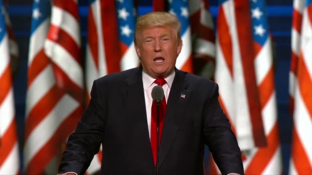 republican presidential candidate donald trump begins telling delegates that the republican party will be back in the white house and will lead the... - republican national convention stock videos & royalty-free footage