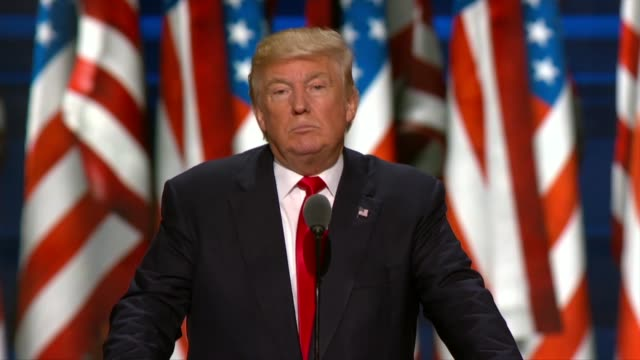 vídeos y material grabado en eventos de stock de republican presidential candidate donald trump delivers his acceptance speech at the convention, telling delegates that radical islam has targeted... - speech
