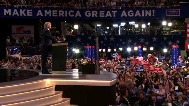 republican presidential candidate donald trump delivers his acceptance speech at the convention telling delegates that he made billions of dollars in... - republican national convention stock videos & royalty-free footage