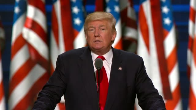 'Republican presidential candidate Donald Trump delivers his acceptance speech at the convention telling delegates that he made billions of dollars...