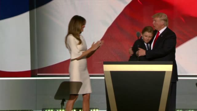republican presidential candidate donald trump is joined on stage by his family vice presidential candidate mike pence and family for the traditional... - melania trump stock videos & royalty-free footage
