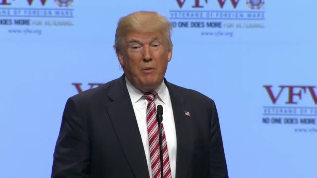 republican presidential candidate donald trump speaks at the 117th national convention of the veterans of foreign wars telling the audience that a... - veterans of foreign wars of the united states stock videos & royalty-free footage