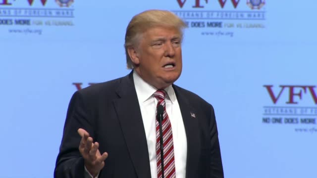 republican presidential candidate donald trump speaks at the 117th national convention of the veterans of foreign wars telling the audience that the... - veterans of foreign wars of the united states stock videos & royalty-free footage