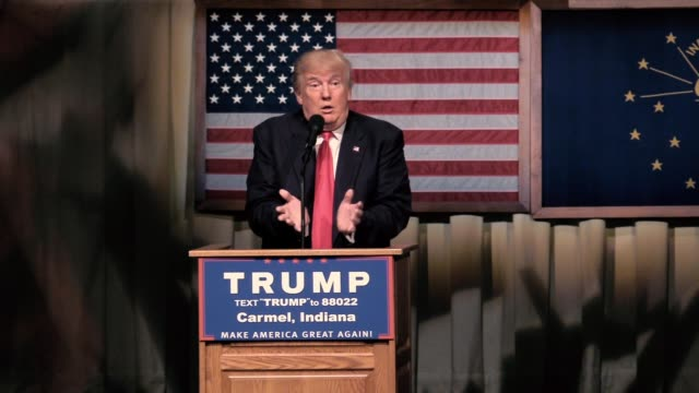 republican presidential candidate donald trump speaks during a campaign stop and town hall at the palladium at the center for performing arts in... - money makes the world go around stock videos and b-roll footage