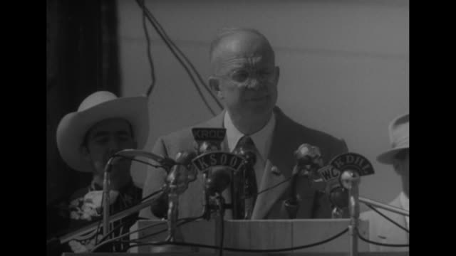 CU Republican presidential candidate Dwight D Eisenhower at podium with radio microphones 'The most significant fact of the revolution on the land is...