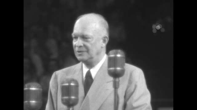 republican presidential candidate dwight eisenhower speaking in front of microphones sot i believe that a change in administration in our federal... - 1952 stock videos & royalty-free footage