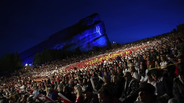republican presidential candidate mitt romney and vice presidential candidate paul ryan took the stage at red rocks amphitheater to an overflowing... - kid rock stock videos & royalty-free footage