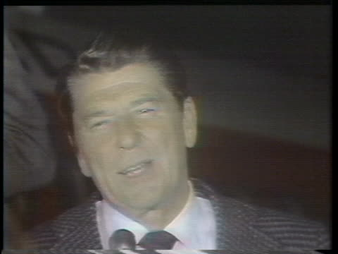 republican presidential candidate ronald reagan discusses his victory in the north carolina primary during an interview. - election点の映像素材/bロール