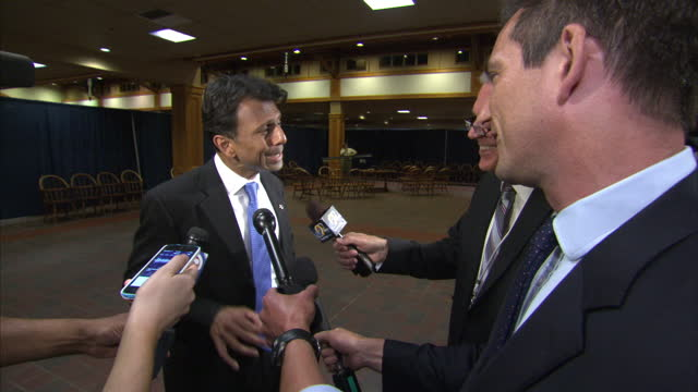 republican presidential contenders arrive in new hampshire for debate shows interior shot bobby jindal governor louisiana talks about his outlook on... - us republican party 2016 presidential candidate stock videos & royalty-free footage