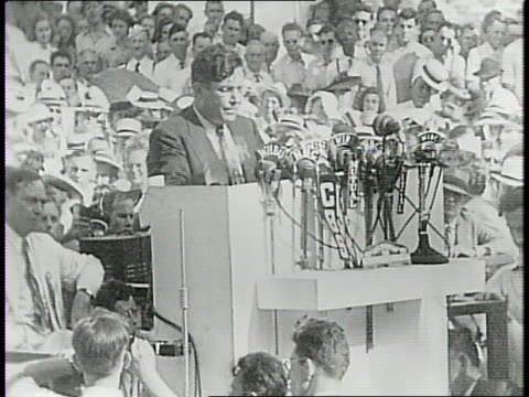 republican presidential nominee wendell willkie speaking in middle of a large crowd gathered outside in his hometown / he speaks about his political... - hometown stock videos and b-roll footage
