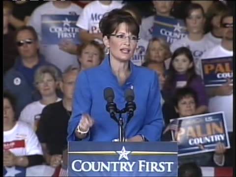 republican vice presidential candidate sarah palin praises presidential candidate john mccain. - 2008 stock videos & royalty-free footage