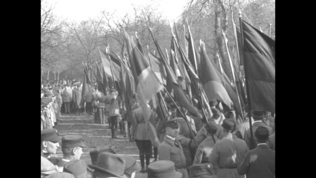republicans march bearing tricolored german flags as they approach and pass / rear shot marchers march in place as they wait to proceed spectators... - passing a note stock videos and b-roll footage