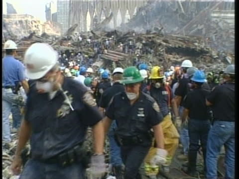rescue and cleanup operations continue at ground zero. - september 11 2001 attacks stock videos & royalty-free footage