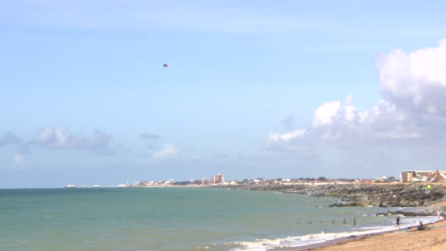Rescue helicopters and boats off the coast of Shoreham Sussex