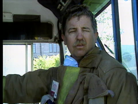 rescue worker mike frank talks about conditions while searching through the wreckage of the a.p. murrah federal building. - oklahoma city bombing stock videos & royalty-free footage