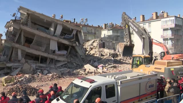 rescue workers search for survivors in the rubble of a building destroyed in friday's earthquake in turkey's eastern elazig province on january 27,... - friday stock videos & royalty-free footage